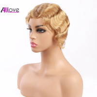 Wholesale human hair curly ombre wigs for sale - Group buy Indian Hair Blonde Color Short Wigs Peruvian Hair Curly Wave Lace Front Wigs Swiss Lace Wig Old Fashion Cheap Malaysian Human Hair Wigs
