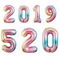 ingrosso partito di palloncini in alluminio-palloncini foil numeri 40 gradi gradiente arcobaleno numeri alluminio palloncini numeri alluminio prezzo all'ingrosso