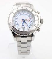 кожаный ремешок оптовых-Мужские автоматические высококачественные белые циферблатные часы Siliver Leather Bands Sport 116689 Складные застежки мужские часы