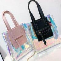 Wholesale clear transparent handbags totes online - Laser Holographic Crossbody Bag Colors Women Transparent Handbag Clear PVC Jelly Tote Shoulder Bags Outdoor Handbags OOA6093
