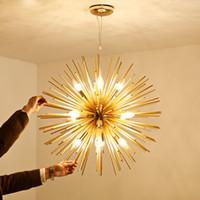 modelagem de arte venda por atacado-Modern Pingente Luzes de Arte Dourada LEVOU Pingente Lâmpadas De Alumínio Dandelion Modelagem de Iluminação para Sala de estar Quarto Sala de Jantar Bar