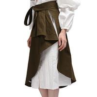 ingrosso la moda estiva coreana si veste-2017 donne di estate lace up irregolare una linea gonne lunghe femminile verde alta gonna a pieghe wiast coreano moda wrap dress