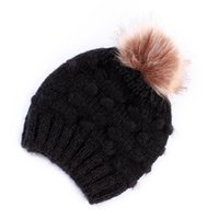 Wholesale kids pom hats resale online - Kids Knitted Beanie Colors Knitting Wool Pom Pom Hats Outdoor Winter Warm Beanie Children Caps OOA7421