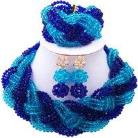 königliche blaue halskettenohrringe großhandel-Hübsche Royal Blue Lake Blue African Party Mode Kristall Halskette Ohrringe Sets für Damen 12C-BZ-30