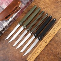 Wholesale pen knives for sale - Group buy New high quality steel magic pen folding knife pocket D2 blade G10 handle tactical outdoor pocket EDC knife gift and leather scabbard