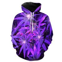sudadera púrpura al por mayor-NUEVA LLEGADA EuropeStyle Purple Leaf Impresión Estéreo Paste Bag Casual Hoodie para Hombres Jóvenes Diseñador Hoodies Moda Hipster Hombres sudadera