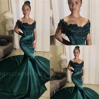 Wholesale sexy gorgeous girls resale online - 2020 Gorgeous Appliques Cap Sleeves Dark Green Prom Dresses Mermaid African Girls Evening Gowns Women Formal Long Party Dresses
