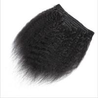 индийский remy афро курчавый переплетение волос оптовых-Зажим для волос Remy индейца Afro Kinky курчавый Weave в выдвижениях человеческих волос естественный цвет полная головка