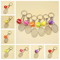 Wholesale car birthday party resale online - hot color Mini Tennis Keychain Sports Style Key Chains metal Keychains Car Keyring Kids Toy Novel Birthday Gift Party SuppliesT2C5187