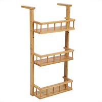 Wholesale hook tiers for sale - Group buy 3 Tiers Natural Bamboo Storage Rack Multi functional Kitchen Fridge Hanging Shelf