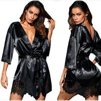 herbst nächte pyjamas großhandel-Frauen Schlaf Pyjamas Frühling Herbst Spitze Schlaf Roben Feste Abendnacht Robe Kleidung Vestioes