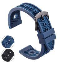 schwarze gummibandarmbänder großhandel-22mm silber gummi armband gurt männer weich tauchen schwarz blau loch sportuhr band armband metall pin schnalle uhr zubehör