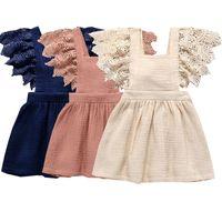neue leinenkleider großhandel-Neues Baby kleidet Spitze-Hülsen-feste weiche Baumwollleinenrückseiten-Bowknot-Kleid-Kleinkindkleidung Sommer 2019