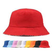 Wholesale bucket hats men resale online - Travel Fisherman Leisure Bucket Hats Solid Color Fashion Men Women Flat Top Wide Brim Summer Cap For Outdoor Sports Visor BD0042