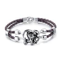 Wholesale leather bracelets resale online - Elephant Pattern Leather Charm Mens Bracelet Colors Designer Jewelry Mens Double Layer Bangles Pulseras Jewelry Cheap DHL FREE