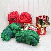 guantes de araña al por mayor-Los niños araña Hulk guantes de boxeo Hulk Smash Hands Spider Man guantes de peluche que realizan accesorios juguetes puño gigante dedos guantes GGA1838
