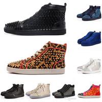 loafers amarelos para homens venda por atacado-Sapatos de grife Spike Red bottom Sapatilhas Sapatos de couro Das Mulheres Dos Homens Júnior Bezerro Casuais Loafer Sapatos de luxo Camurça