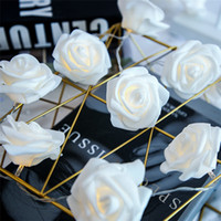 Wholesale string lantern fairy lights for sale - Group buy Rose Christmas Decoration String Lights Simulation Rose LED Light Post Lantern Lighting Fairy Lights Home Flower Party