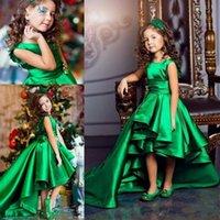платье без рукавов оптовых-Безрукавное зеленое атласное платье для девочек в цветочек Маленькая принцесса с высоким низким платьем