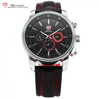 ангелы даты оптовых-Pacific Angel SHARK Sport Watch Men Clock Date Day Stainless Steel Case Leather Strap Top Quartz Black Red Fashion Watch /SH094