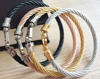 France fashion Jewelry Men women Stainless Steel fashion wire cable Buckle Bracelet bangles in ros