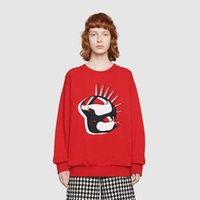 sudadera roja con cuello redondo al por mayor-19FW Luxury European Hoodie Animal Print Logo sudadera de algodón de cuello redondo rojo mujer para hombre diseñador sudadera HFWPWY265