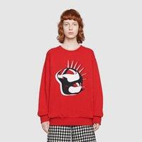tierdruck-sweatshirts für frauen großhandel-19FW Luxus European Hoodie Animal Print Logo Sweatshirt Mode Baumwolle Rundhals Rot Damen Herren Designer Sweatshirt HFWPWY265