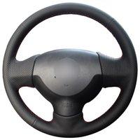 voitures anciennes achat en gros de-Couvre volant de voiture en cuir synthétique noir pour Mitsubishi Lancer EX 10 Lancer X Outlander