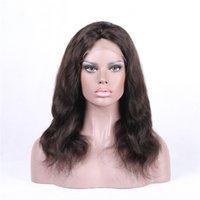 vente américaine cheveux humains achat en gros de-Euro-American Hot ventes peau douce vague de corps brun brésilien perruques frontales de dentelle de cheveux humains pour les femmes noires
