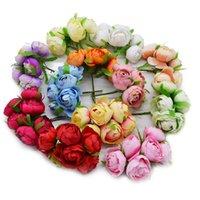 dekorasyon için büyük yapay çiçekler toptan satış-6pcs İpek Big 5 cm Gül Bud Yapay Çiçek Gelin Buketi Düğün Sevgililer Günü Ev Dekorasyon Sahte Çelenk Meslekler