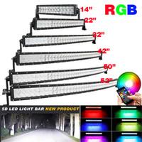 trabajo dirigido 24v al por mayor-5D RGB Led barra de reflector Bluetooth App Control 16 millones de colores que cambian la barra de luz curva 4X4 Camión de barco 120W 180W 240W 288W 300W Lámpara de trabajo