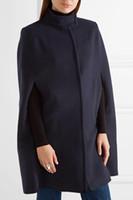 ingrosso ponte manteau-Doudoune UK 2018 Autunno / Inverno Navy O collo Mantello di lana Cappotto Mantello Cappotto Donna Moda poncho manteau femme
