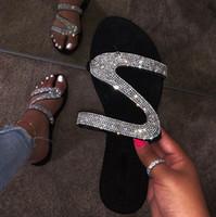 deslizamiento del dedo del pie al por mayor-Summer Flats Mules Sandalias de señora Zapatillas Slip On Open Toe Zapatillas de mujer Zapatillas de zapatillas al aire libre Mujer Slides Chanclas de serpiente