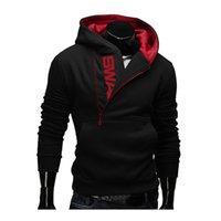 yaka sweatshirt sporlar toptan satış-Hoodies Erkekler Bahar Moda Eşofman Kazak erkek Kış Sıcak Yaka Kap Uzun Kollu Kazak Hoody Spor Tişörtü