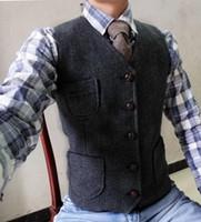 3863731c7ed Wholesale tailored tweed suits for sale - Group buy Gray Groom Vests Wool  Herringbone Tweed Vest