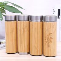 bouteilles d'infusion de thé achat en gros de-Bambou Bouteille d'eau en acier inoxydable à vide Coupe d'isolation avec le thé infuseur Passoire 350ML 450ML Coupe du bambou