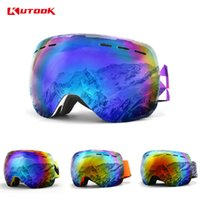 Wholesale snowmobile eyewear resale online - KUTOOK Double Layer Snowboard Goggles Winter Windproof Ski Glasses With Case Snowmobile Goggles Face Mask Racing Sports Eyewear