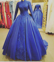 Wholesale photo muslim classic for sale - Group buy 2019 Muslim Evening Dresses High Neck Long Sleeve Lace Applique Satin Prom Dresses With Overskirt Bow Sash Arabic Party Gowns