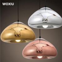 lustres en verre de fer achat en gros de-WOXIU lustre en verre fer lumière Art luminaire Vintage Deco plafond abat-jour lampe style nordique lumières spéciales