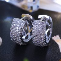 Wholesale circle hoops for sale - Group buy Charm silver plated color round earring pave shiny Cubic Zirconia crystal classic jewelry Luxury Circle Hoop Earrings for women