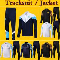 calça de futebol venda por atacado-Survêtement Marseille Full Zip Faixa de Futebol Jacket Treino Mens Crianças 2020 Maillot OM Kit 19 20 Pré-Jogo de Futebol Inverno Jacket Pants