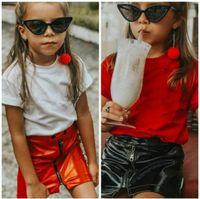 Wholesale kids clothing skirts black resale online - Retail Fashion Girls Leather Zipper Skirts kids luxury designer Classic black red pleated skirt short skirts Children boutique clothing