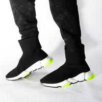 chaussettes de démarrage pour les femmes achat en gros de-2019 Designer Chaussures Vitesse Trainer Oreo Triple Noir Vert Citron Flat Chaussettes De Mode Botte Designer Hommes Sneakers Avec Boîte Dust Sac