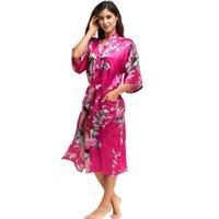 samimi gece elbiseleri toptan satış-Yaz Kadın Gecelik Baskı Pijama Gece Banyo Elbise Kıyafeti Saten Uyku Gömlek Seksi Nightshirt Ev Giysileri Intimate Lingerie