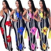 uzun maxi elbise parti çiçekleri toptan satış-Kadın kolsuz çizgili çiçek baskı bodycon rahat tatil parti uzun elbise Çiçek Maxi Kolsuz Elbise LJJK1374