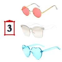 gafas de sol de forma redonda al por mayor al por mayor-Venta al por mayor 3 unids / set marca de moda gafas de sol mujeres ronda cuadrado en forma de corazón coloridas gafas de sol para la fiesta femenina del festival regalos