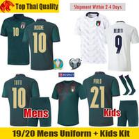 futebol italia venda por atacado-19 20 Itália Camisas de Futebol INSIGNE IMMOBILE 2019 2020 EURO Terceiro Kit Itália Renascença Jersey Mens uniforme Crianças BELOTTI TOTTI Camisa de futebol