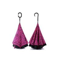 paraguas sexy al por mayor-Nuevo Hot Sexy estampado de leopardo reversa sombrilla sombrilla exterior doble cubierta paraguas automóvil paraguas invertido Paraguas comerciales T3I5068
