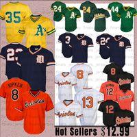 camisas de beisebol de tigre venda por atacado-Oakland 24 Rickey Henderson Atletismo Jersey Beisebol Reggie Jackson Detroit 23 Kirk Gibson Tigres 24 Miguel Cabrer Oriol 8 Cal Ripken Jr.