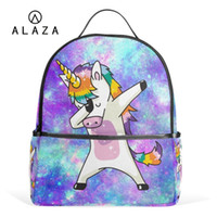 venta de bolsas de cumpleaños al por mayor-ALAZA Venta Caliente Unicornio Estudiante Mochila Niñas Mochila colorida Escuela para Mujeres Niños Bolsa de Regalo de Cumpleaños Correas Ajustables # 33103